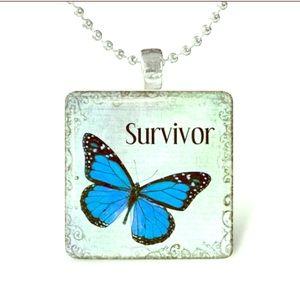NEW🦋SURVIVOR Cancer Awareness Glass Tile Necklace